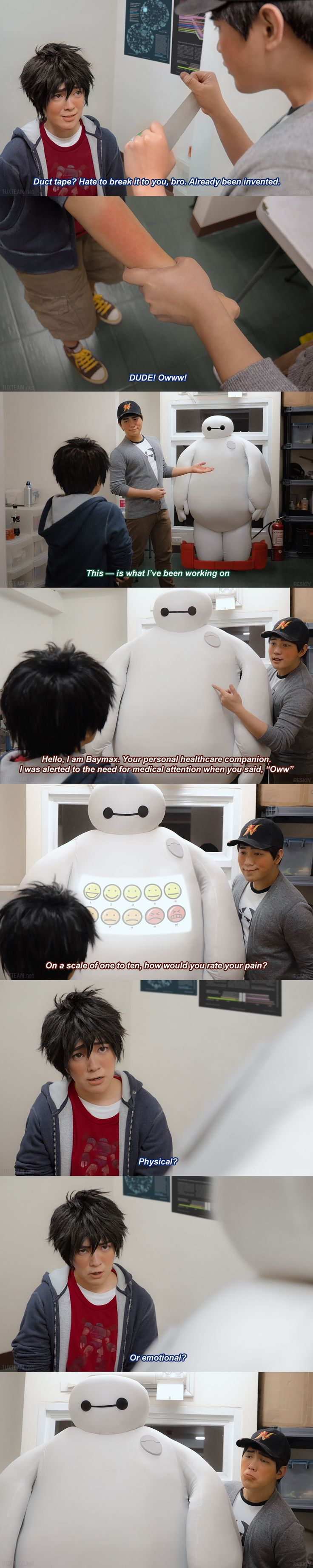 "Big Hero 6: How would you rate your pain? by behindinfinity.deviantart.com on @DeviantArt - Hiro, Tadashi, and Baymax from ""Big Hero 6""; uploaded by the first. This is Part 1 of 2; also, just to be clear, Baymax is also played by a cosplayer here."