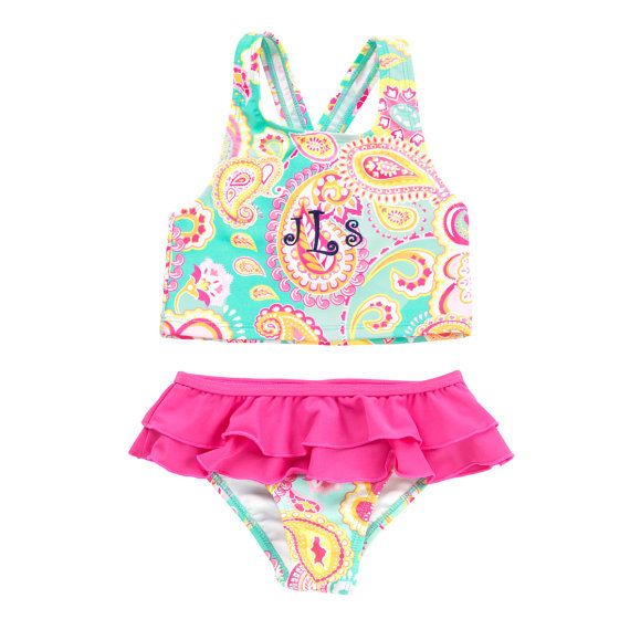 Paisley Swimsuit Set, Toddler Swimming Suit, Vacation Bathing Suit, Girls Swim Wear for the Pool, Stylish Personalized Swimming Suit
