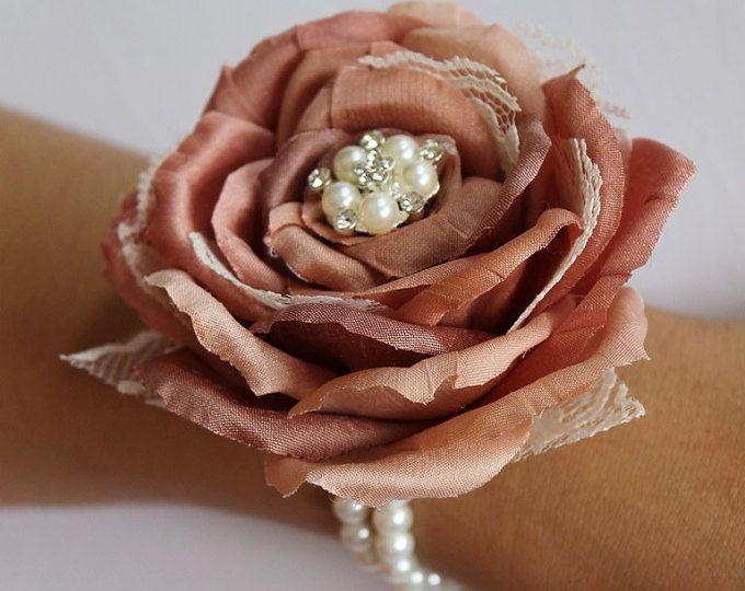 Blush ramillete boda ramillete madres ramillete ramillete seda baile ramillete flor ramillete pulsera ramillete novia Blush ramillete de la muñeca