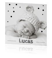 #Zwart-wit #geboortekaartje met eigen foto. #fotokaart