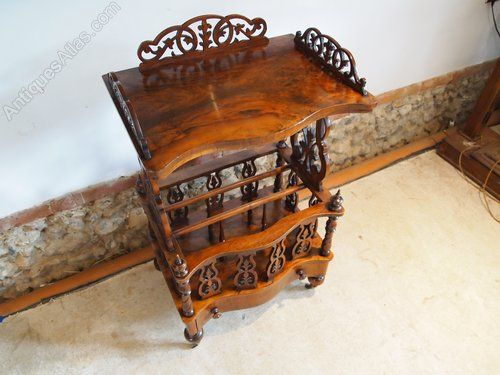 ~ Victorian Canterbury Walnut Table/ Magazine Rack, c. 1880 ~ antiques-atlas.com