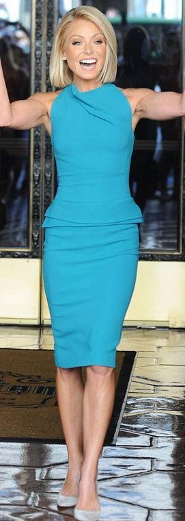 Who made Kelly Ripa's blue peplum dress?