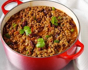 Chilli con carne. Easy, simple recipe, replacing mince beef with stewing beef.