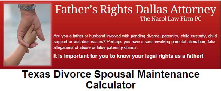 Texas Divorce Spousal Maintenance Calculator http://www.fathersrightsdallas.com/texas-divorce-spousal-maintenance-calculator/