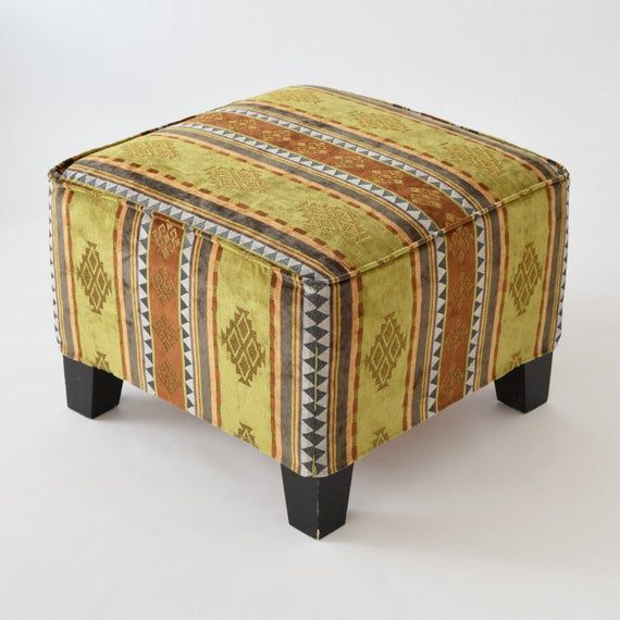 Ekenas Footstool Slipcover F01 Tribal Bohemian Kilim Rug Ottoman
