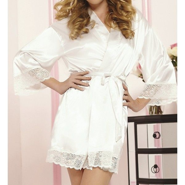 Seven 'til Midnight STM9762 Enchanting Satin Lace Trim Robe ($31) ❤ liked on Polyvore featuring intimates, robes, sleepwear, womens plus size robes, plus size loungewear, lightweight robe, sexy dressing gown and short robe