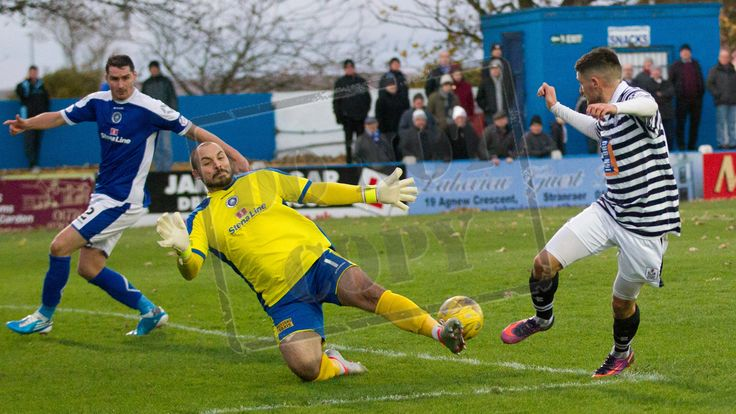 Stranraer's keeper Cameron Belford blocks a shot during the Ladbrokes League One game between Stranraer and Queen's Park