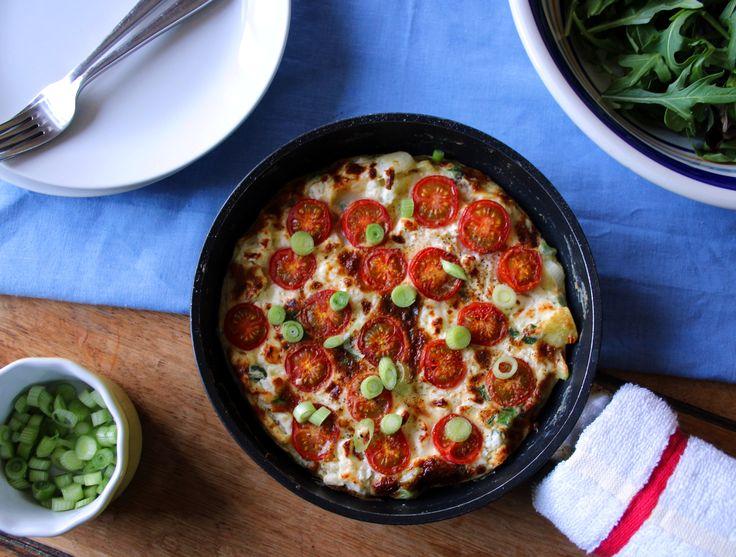 Tomato, feta and spring onion fritatta. Gluten free