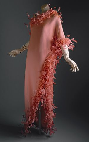 Evening gown, ca. 1968  Hubert de Givenchy (French, born 1927)  Salmon-colored silk with feathers