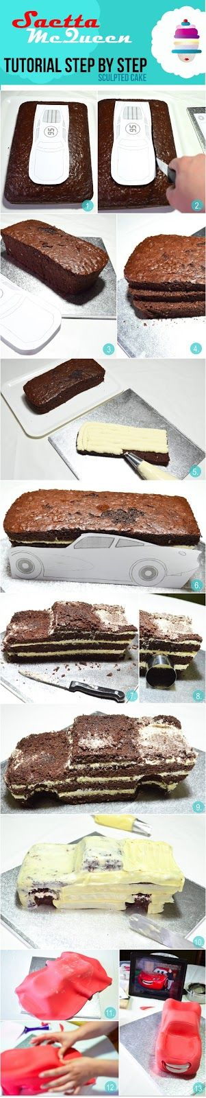 Saetta McQueen {torta scolpita}   tutorial