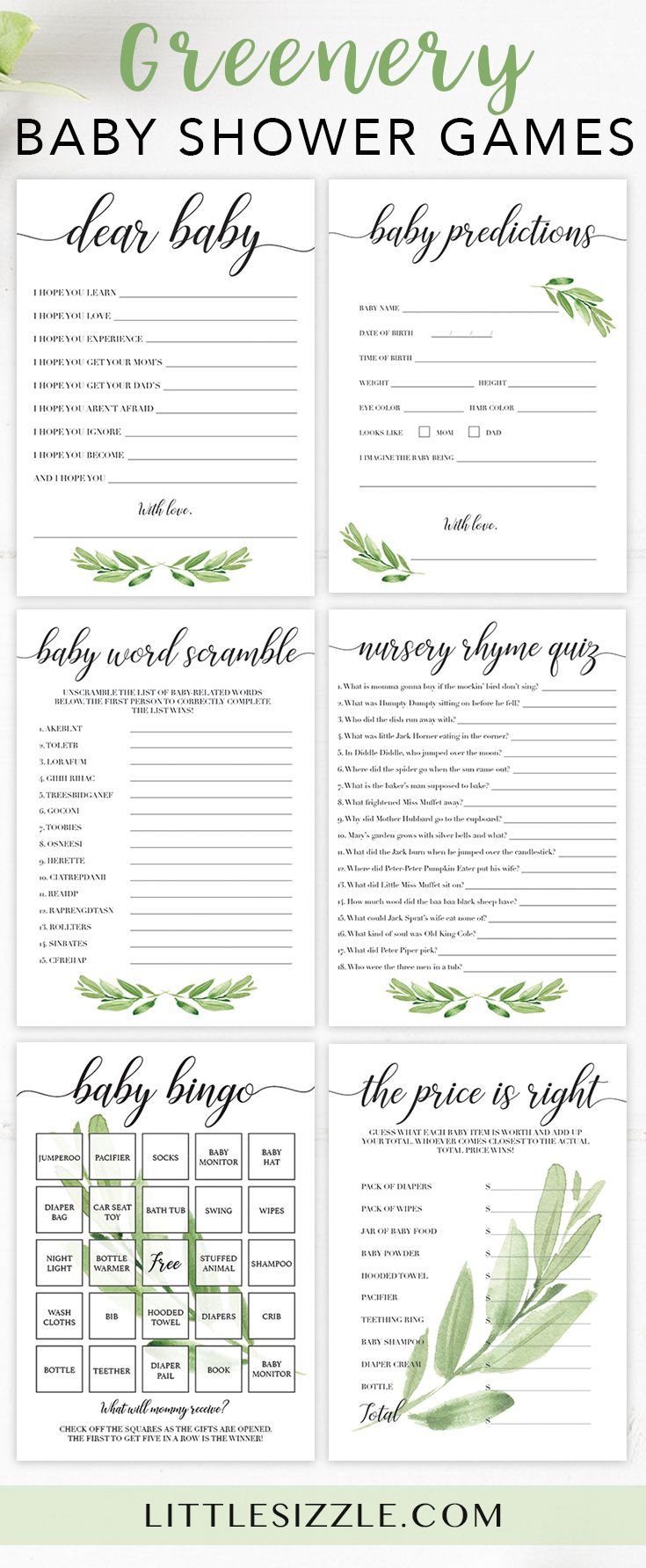 Greenery baby shower ideas for neutral shower by LittleSizzle. Print your own green leaves baby shower games and keep your guests entertained during the party. This green baby shower game pack is perfect for any greenery baby shower and includes all the fun, easy and popular games you need. Create meaningful keepsakes for mom-to-be with our baby wishes cards and advice cards and entertain large groups of guests with baby bingo and the price is right. #babyshowergames #babyshowerideas…