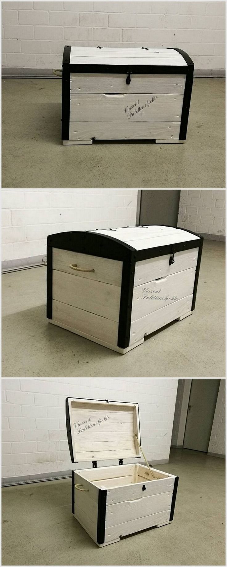 You can make this box which looks more like a treasure box. You can color it in white and put color at the borders of it. It is quite a big wood pallet storage box.