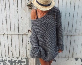Largo della maglia maglione/grigio spalla / grosso maglione di lana / handknit maglione / oversize maglia / maglione maglia allentata