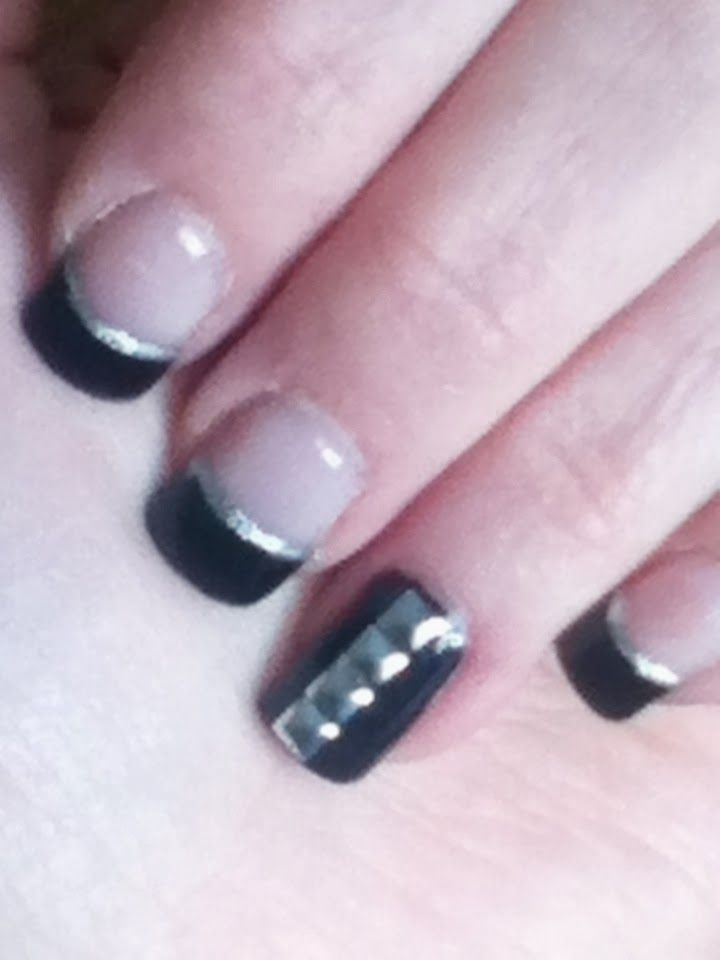 Black and Silver Studded Gel Nails! | Spring & Summer Nails! | Pinter