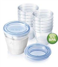 Avent Breast Milk Containers (SCF612/10) breast milk containers safely store breast milk up to 3 months in freezer or up to 6 months in a deep freezer.