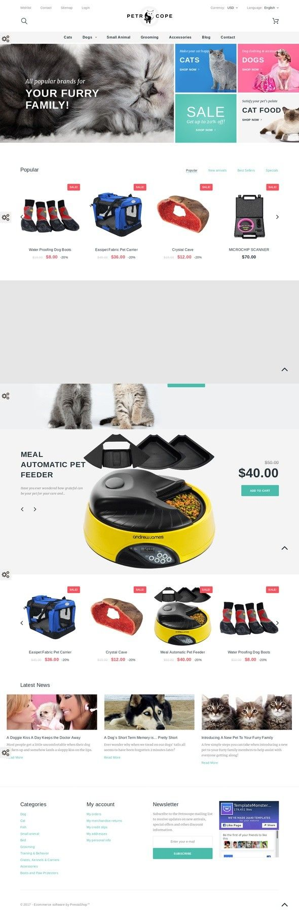 Petrocope PrestaShop Theme E-commerce Templates, PrestaShop Themes, Animals & Pets, Pet Shop Templates This theme will interest those merchants who want to sell pet supplies online. A cute shop comes with multiple features that will make it profitable. Three sliders on the home page help to keep ...