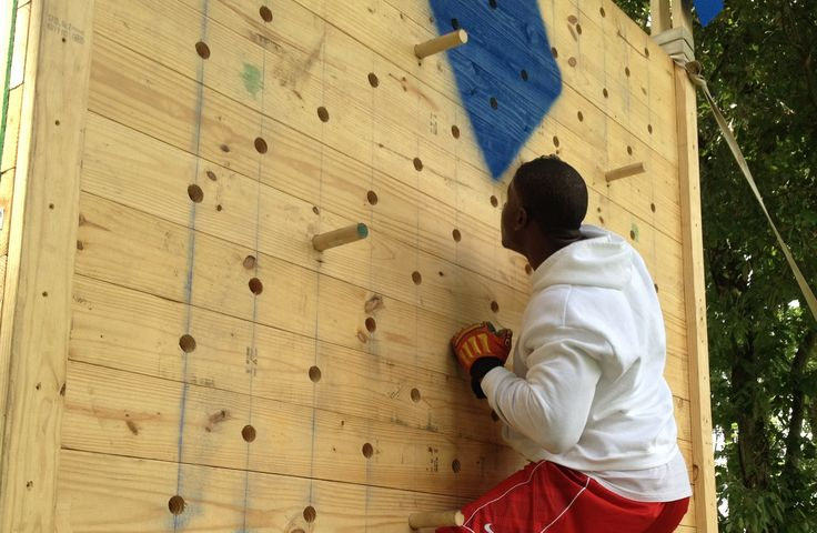 """Peg board obstacle. Also called a """"knife fighter's pull up bar"""". Men...."""