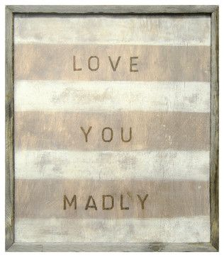 'Love You Madly' White Stripe Reclaimed Wood Wall Art transitional-prints-and-posters