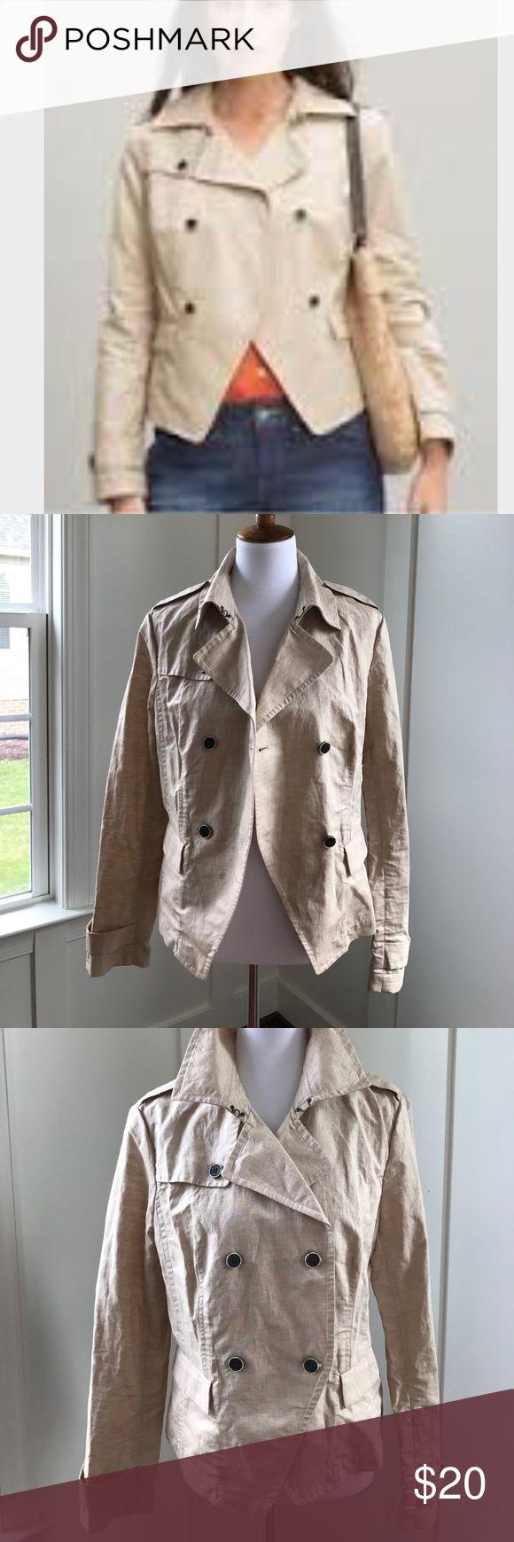 Banana Republic Short Waxed Linen Jacket Size L Linen double breast waxed jacket. Great condition. Banana Republic Jackets & Coats