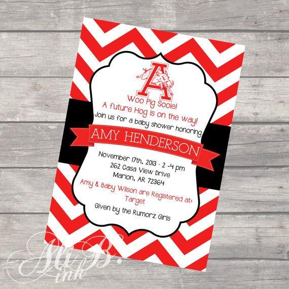 Arkansas Razorback Baby Shower Printable Invitation by ALiBink on Etsy, $15.00