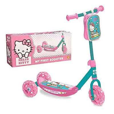 Monopattino di Hello kitty - Super offerta limitata. Con 3 ruote, manubrio girevole e borsa porta oggetti personalizzata.  Ideale per bambine.