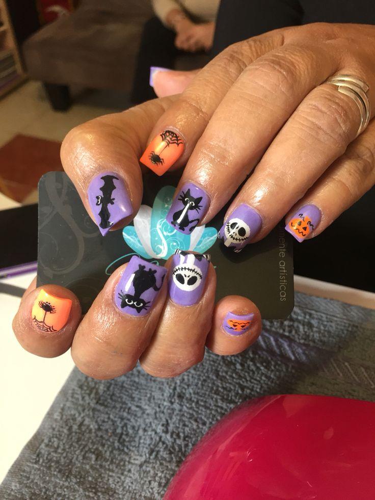 Acrylic nails, nails art, halloween nails