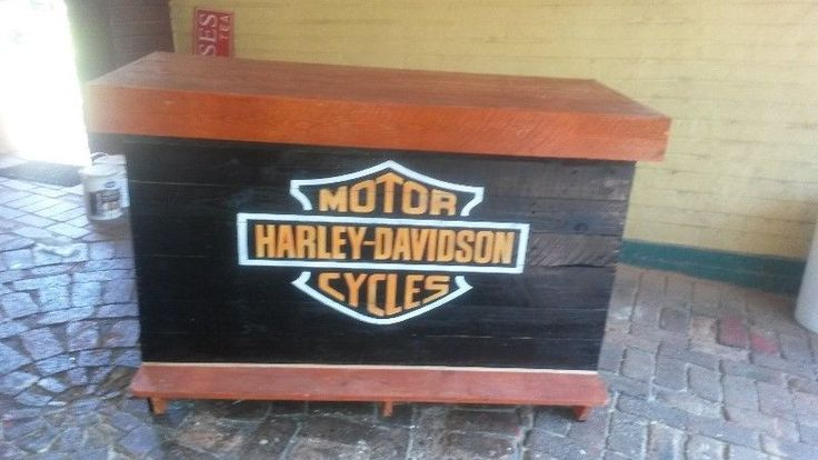 Harley-Davidson Furniture and Accessories   Furniture: Harley Davidson Bar Counter with foot rest and shelves.