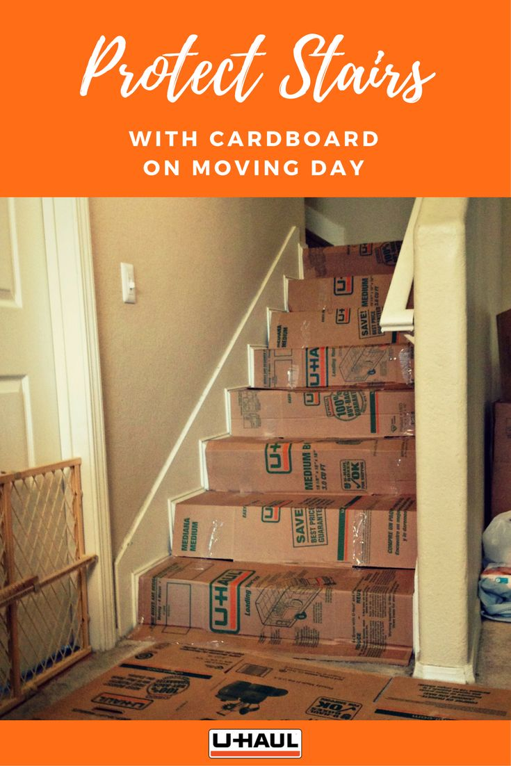 Protect stairs with cardboard on moving day. Don't worry about getting too many boxes. Shipping is free and we'll buy back the boxes you don't use. Of course cardboard boxes can also be used for packing and protection of numerous other items.Cardboard is a great floor protector. Keep carpets and stair cases clean and damage free by covering them with cardboard. Keep the cardboard flaps in place using tape. Now you can freely walk or roll your dolly across the floors without a care! I Moving…