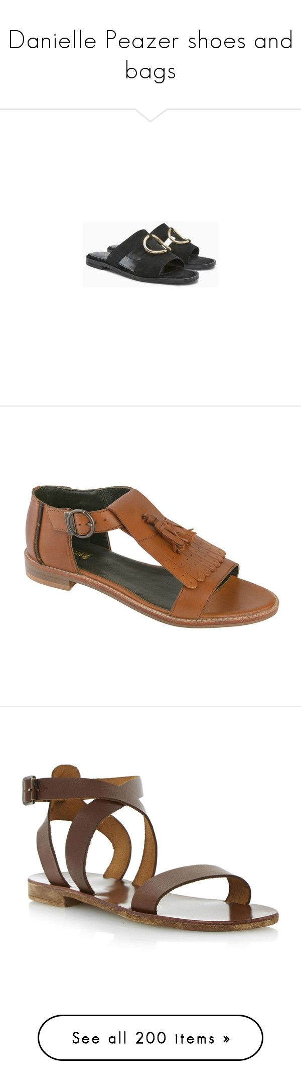 """""""Danielle Peazer shoes and bags"""" by marilia13 ❤ liked on Polyvore featuring shoes, sandals, black leather shoes, circle shoes, black leather mules, leather footwear, black mules, tan flat shoes, tan flat sandals and tan sandals"""