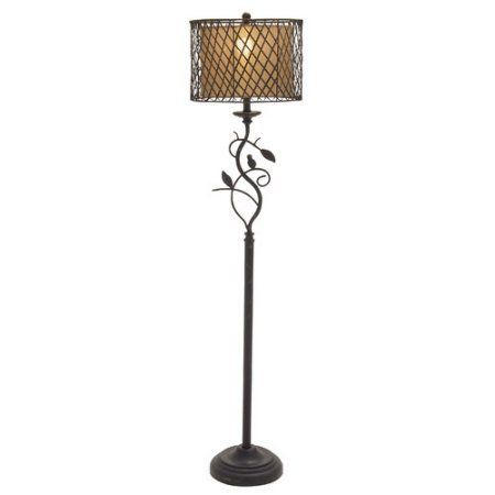 Decmode Metal Polystone Rattan Floor Lamp, Multi Color, Multicolor