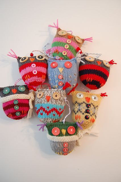 Knitted owls.
