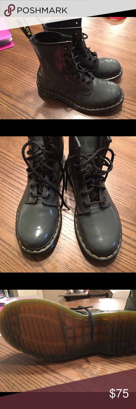 Womens Dr martens Womens size 6 Dr martens like new no wear on the bottoms, shiny patent Gray Dr. Martens Shoes Combat & Moto Boots