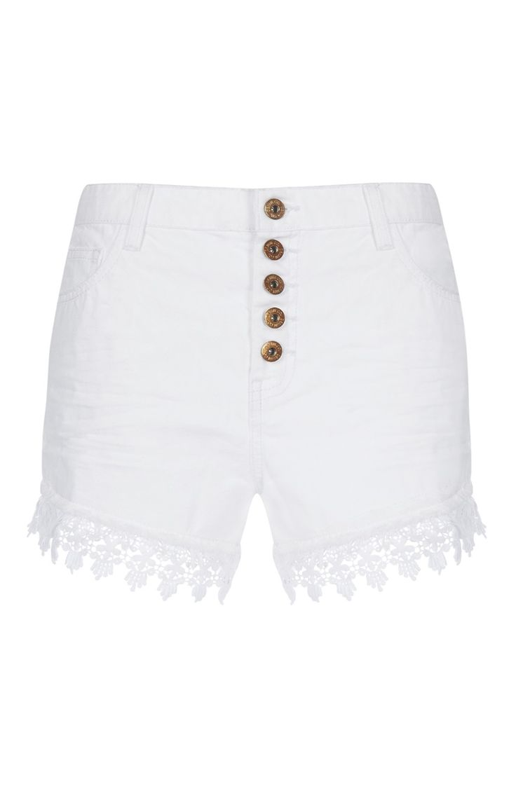 White Frayed Button Shorts