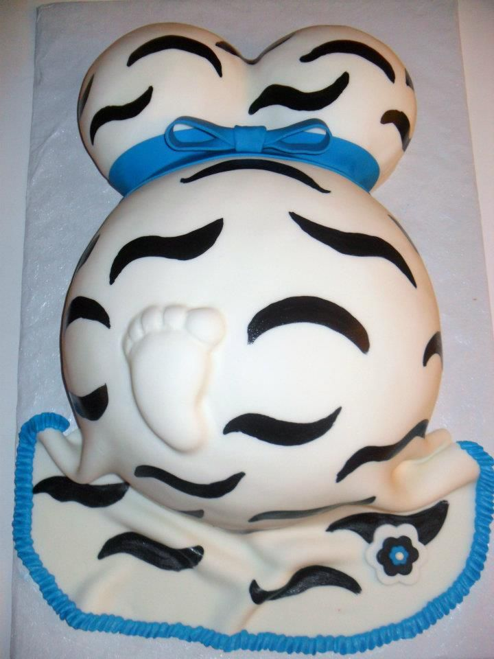 Pregnant Belly Cake, maybe a different style dress though! A solid color would make the foot stand out more!