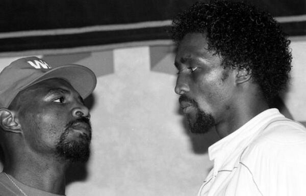 """Marvelous Marvin Hagler vs Thomas """"Hit Man"""" Hearns took plce April 15, 1985 in Las Vegas. Here the combatants stare each other down during a pre-fight press conference."""
