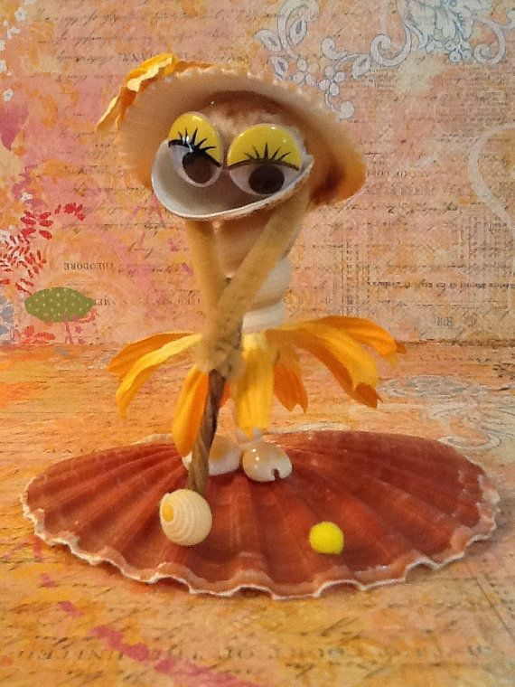 Seashell Golfer Figurine  Peaches by SeashellSugar on Etsy, $27.00