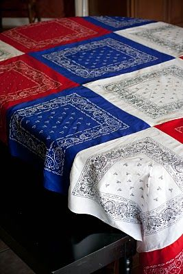 tablecloth made with red, white, and blue bandanas