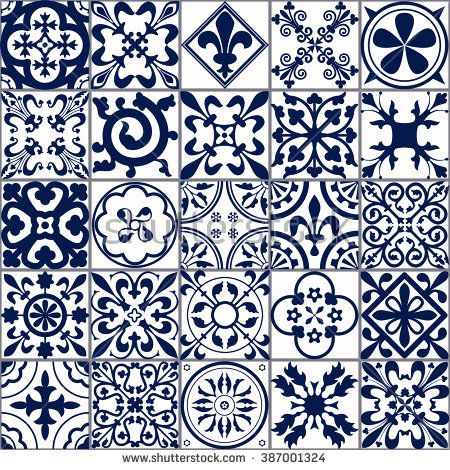 Vector Illustration of Moroccan tiles Seamless Pattern for Design, Website, Background, Banner. Spanish element for Wallpaper, Ceramic or Textile. Middle Ages Ornament Texture Template. White and Blue - stock vector