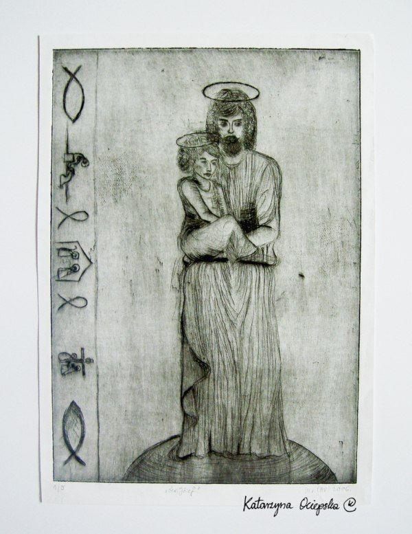św. Krzysztof (St. Christopher), drypoint, 2006 #suchaigla #drypoint #print #printing #druk #drukowanie #uljado