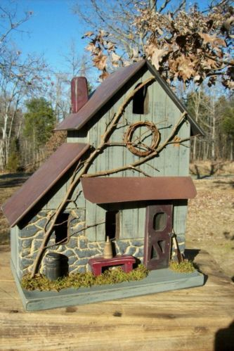 Vintage Folk Art Primitive Stone Sage Farmhouse Cabin Lighted Birdhouse