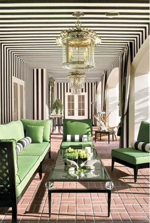 traditional black and white loggia with green accents