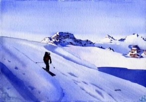 """Anticipation by Artist Kendra Dixson    A skiier starts his run with anticipation.     Available in Prints and Art Cards:  8""""x10"""" Print  11""""x14"""" Print  16""""x20"""" Print     6 Pack Cards  20 Pack Cards  50 Pack Cards"""