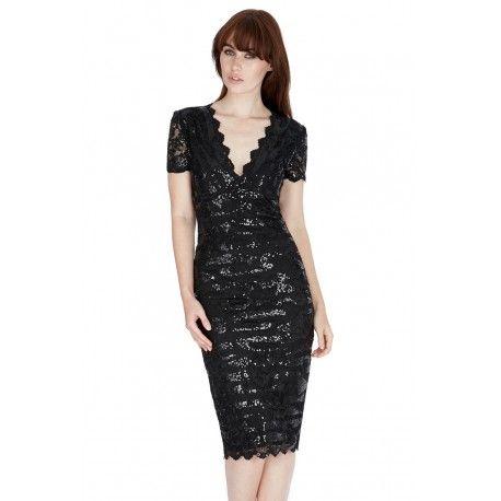 Czarna cekinowa sukienka na sylwestra midi z krótkim rękawem