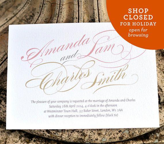 Calligraphy Wedding Invitation - 'Chatsworth' Design - One Sample