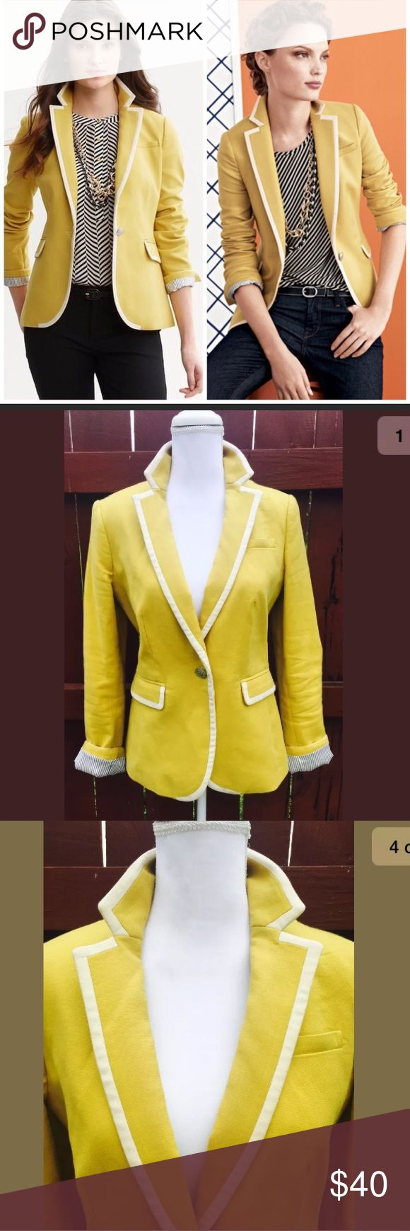 Banana Republic Sz 6 Mustard Yellow Lined Blazer Banana Republic Sz 6 Mustard Yellow & Ivory Lined Blazer Jacket Career Wear. In excellent condition! Banana Republic Jackets & Coats Blazers