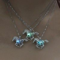 Wish | New Design Creative Horse Luminous Alloy Pendant Necklace Silver Water Waves Chain Hollow Necklaces Women Simple Casual Jewelry