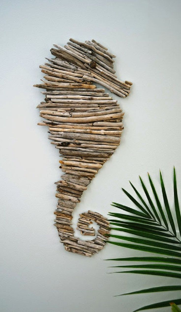 Diy Driftwood Seahorse Tutorial - There is nothing cuter than those little seahorses which reminds us of the beautiful sea and they are a great representation of the coastal style so here's an idea for you, make a driftwood seahorse as wall art! Cut out a template and cover it with wooden sticks and you're done, it is so simple and easy but so mesmerizing when you finally hang it on your wall and look at it every time you pass by!