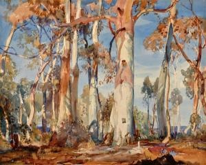 Hans Heysen - Watercolor - Watercolour - White Gums 1924