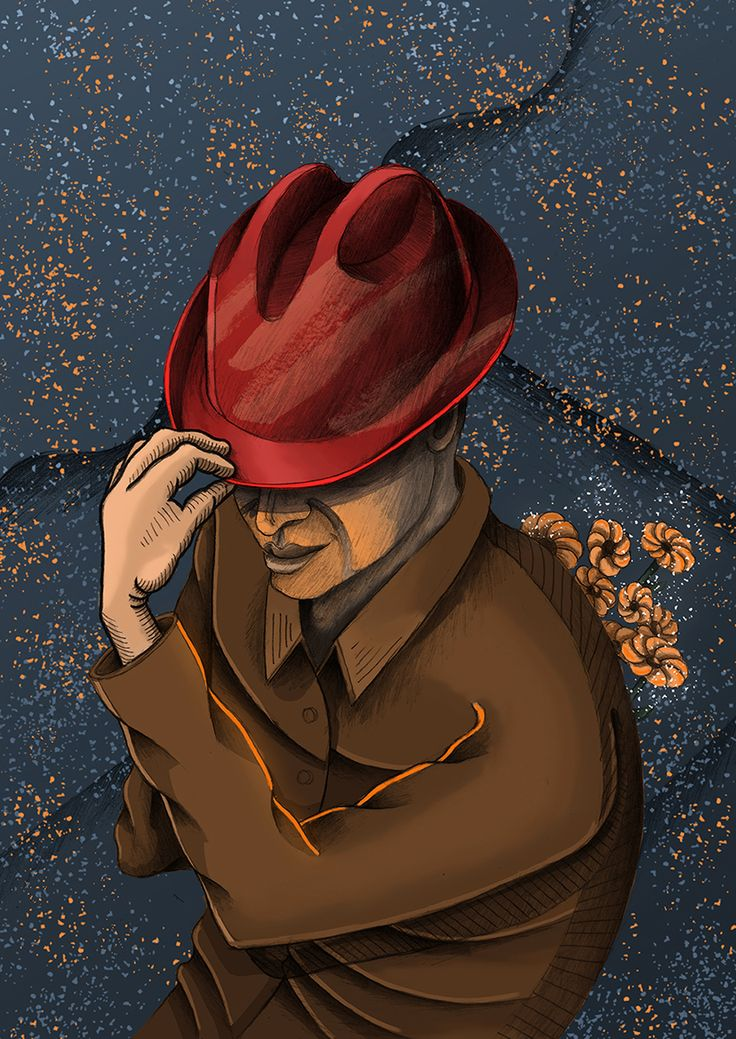 """Gentelman"" illustration / flowers / hat / man"