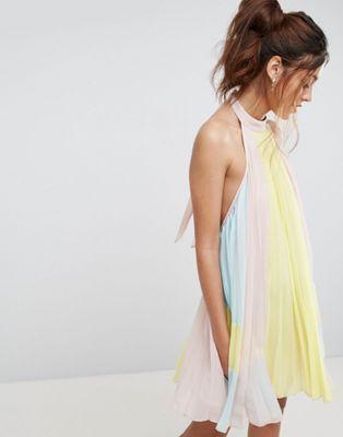 ASOS Pleated Color Block Trapeze Mini Dress